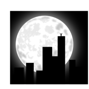 Full moon on the city