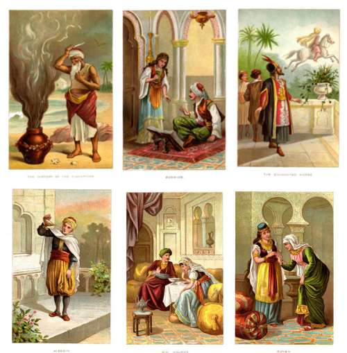 Six color plates from Arabian Nights