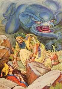 The magician persisted in demanding the lamp before he helped Aladdin out of the cave