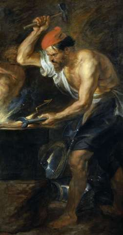 hephaestus in his workplace