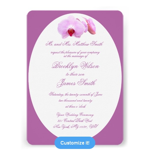 personalised wedding invitation radiant orchid