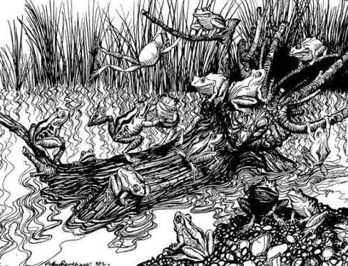 the-frogs-asking-for-a-king-arthur-rackham-illustration